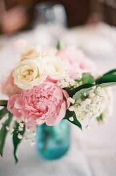 Peony + Rose + Baby's Breath - the perfect combo! http://www.StyleMePretty.com/southeast-weddings/2014/03/18/a-romantic-celebration-in-south-carolina/ Ashley Seawell Photography on #SMP