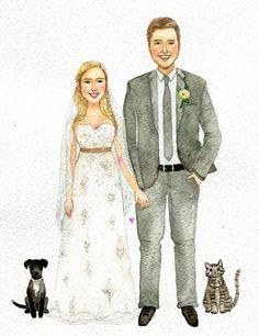 An original watercolor wedding portrait Custom by BameeMotions