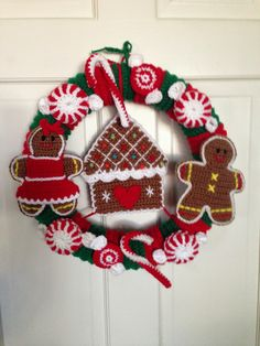 Crocheted Wreath  Gingerbread Wreath # 1