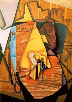 """Juan Gris """"A Man in a Cafe"""", 1914 (Spain, Synthetic Cubism, cent. Georges Braque, Pablo Picasso, Synthetic Cubism, Modern Art, Contemporary Art, Francis Picabia, Cubism Art, Art Brut, Spanish Artists"""