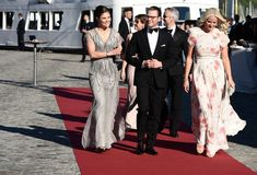 zimbio:  Pre-Wedding Dinner, Stockholm, Sweden, June 12, 2015-Crown Princess Victoria in a Jenny Packham dress, Prince Daniel, and Crown Princess Mette-Marit in a Giambattista Valli dress