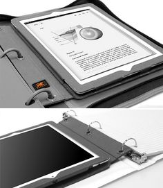 3 ring binder I-pad case holds your tablet secure in your notebook!