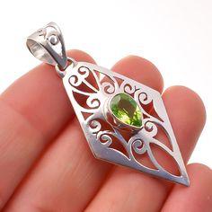 "Peridot Gemstone Jewelry 925 Sterling Silver Filigree Pendant 2"" #Handmade #Pendant #Birthday"