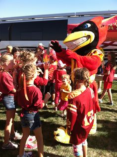 Cy hangs out with some fans at Cyclone Experience before the game against Western Illinois!
