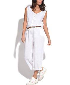 White Button-Front Linen Jumpsuit - Women & Plus #zulily #zulilyfinds