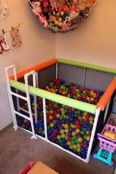 See how to make this easy DIY PVC pipe ball pit, that's easy to make, tons of fun for kids of all ages, and doesn't break the bank! Pvc Pipe Projects, Toy Rooms, Baby Kind, Kids And Parenting, Diy For Kids, Kids Playing, Kids Bedroom, Diy Home Decor, Decor Crafts