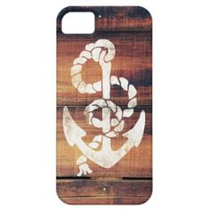 Vintage Nautical Anchor White on Brown Wood Grain iPhone 5 Cover. A vintage sailor design featuring an old fashioned white stamp effect tough anchor with rope on a rustic brown american wood grain panels wooden texture background. Get this cool vintage nautical anchor sailor design. Retro, trendy and unique case for every occasion. The perfect gift idea for him or for her.