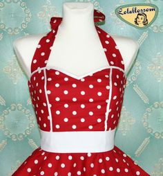 50's vintage dress full skirt red white polka dots dress rare Tailor Made after your measurements. $99.00, via Etsy.