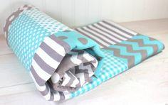 Gender Neutral Baby Blanket, Nursery Decor, Photography Prop, Fleece Blanket, Crib Blanket, Chevron Nursery, Aqua Blue, Gray, Grey Chevron on Etsy, $56.50