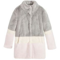 Derhy Kids Girls block colour fur coat available @Childrensalon. #DerhyKids #Girl #Pink #Ivory #Fur