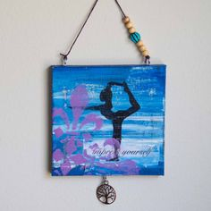 Mini yoga painting, Dancer pose, Boho art, Inspiring art, Acrylic painting, Mixed media art, 4x4 canvas by studio1060art on Etsy