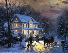 Home For The Holidays by Thomas Kinkade This picture was on a pop up card given to me one Christmas by my family after I had returned home from visiting my mother.