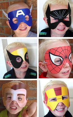 super hero paper masks for children.Kids will have fun making these craft paper mask.
