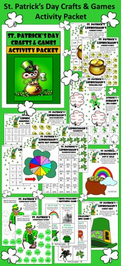 St. Patrick's Day Crafts & Games: Variety of activities to amuse your youngsters.  Contents include: * Addition Math Mat * Shamrock Spinner * Shamrock & Doubloons Counters * Bingo Card & Caller Set * Tic-Tac-Toe * Irish Folklore Matching Game *Construction Crafts:  Pot O' Gold, Leprechaun's Hat, Fairy Toadstool, Celtic Harp * Leprechaun Spelling Activity * Ordinal Number Doubloons Activity * Shamrock Words Activity * Coloring Sheets  #St #Patrick's #Day #Crafts #Games #Worksheets…