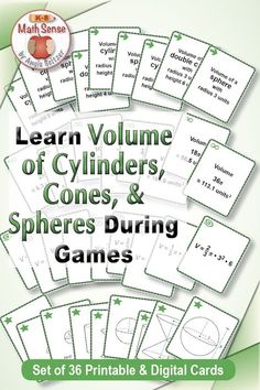 Do kids know how spheres, cones, and cylinders are related? These fun cards will help. Fun Math, Math Games, Math Activities, 8th Grade Math, Eighth Grade, Math Reference Sheet, Geometry Worksheets, Pythagorean Theorem, Math Tutor