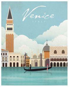 Venecia. Italia. Póster. Arte. Impresión por SomeLikeItShop en Etsy