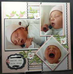 Sweet Baby's Birth Scrapbooking Layout…Christine Pyrch, Jan. 2013 – Your Stamping Teacher. Baby Boy Scrapbook, Scrapbook Bebe, Bridal Shower Scrapbook, Paper Bag Scrapbook, Baby Scrapbook Pages, Birthday Scrapbook, Scrapbook Designs, Scrapbook Sketches, Scrapbook Page Layouts