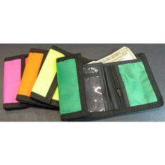 For invites/favors. Nylon Velcro Wallets (Neon), 12 pack