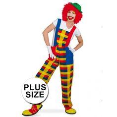 Gekleurde clown Pebbi tuinbroek in grote maten met twee zakken aan de voorzijde. De tuinbroek is gemaakt van 100% polyester. Accessoires niet inbegrepen.