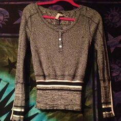 free people sweater FP sweater never worn navy blue with white stripes and lace on both arm sleeves Free People Tops