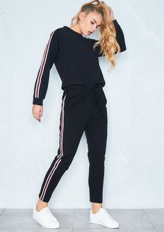 The Stacey Black Striped Jumper Loungewear Set features a thick and cosy material, a four stripe detail jumper and trousers with long sleeves and super comfy fit to carry you through the day. Cute Sweater Outfits, Chill Outfits, Sporty Outfits, Athletic Outfits, Cute Outfits, Fashion Outfits, Loungewear Set, Loungewear Outfits, Cycling Outfit
