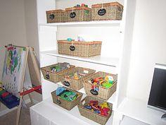 Playroom storage ... chalkboard labels