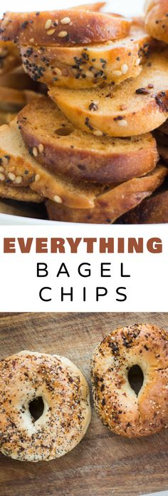 CRUNCHY homemade Everything Bagel Chips! This recipe is easy to make and only requires 3 ingredients! These DIY NYC bagel chips are perfect for snacks and appetizers! Save money and start making your own crispy baked Bagel Chips! Diy Snacks, Savory Snacks, Healthy Snacks, Simple Snacks, Savoury Dishes, Vegan Dishes, Healthy Eats, Bagel Toppings, Bagel Chips