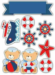 Baby Shower Marinero, Baby Shower Oso, Imprimibles Baby Shower, Sailor Baby, Fondant Cupcake Toppers, Baby Shawer, Nautical Party, Baby Scrapbook, Baby Prints