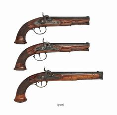 A PAIR OF GERMAN 28-BORE PERCUSSION PISTOLS EARLY 19TH CENTURY With 7 in. (18 cm.) barrels, retaining some original blued and case-hardened finish; together with A PAIR OF GERMAN 50-BORE PERCUSSION PISTOLS BY J. GEORG SCHEDEL, STUTTGART, CIRCA 1800, converted from flintlock (one lacking trigger-guard); A 40-BORE RIFLED PERCUSSION PISTOL SIGNED JOSEPH MON, CIRCA 1810, converted from flintlock; and A 4 mm PERCUSSION SALOON PISTOL