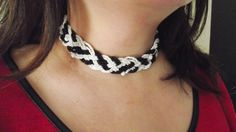 Black and white tracery beaded choker by MaryLooGifts on Etsy