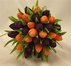 Orange and purple tulips.