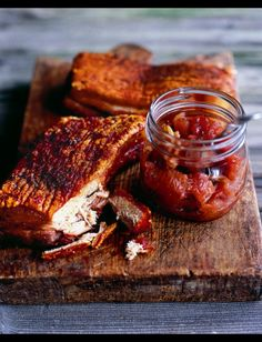 If you want something that you can put in the oven and forget about while you prepare everything else, then pork belly is your friend. I love the sound of this Roast pork belly with apple, sour cherry and fennel chutney. If you really want to break from t Pork Ham, Pork Roast, Apple Chutney, Pork Belly Recipes, My Burger, Carnivore, Sour Cherry, Pork Dishes, Cooking Recipes