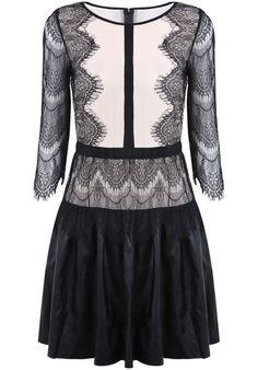 Black Long Sleeve Lace Hollow PU Leather Dress - Sheinside.com