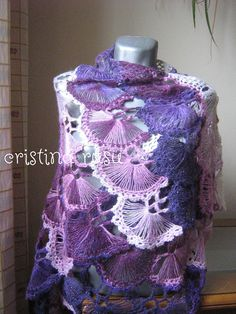 Your place to buy and sell all things handmade Lace Patterns, Crochet Patterns, Easy Crochet Projects, Crochet Ideas, Broomstick Lace, Pink Shawl, Crochet Triangle, Hairpin Lace, Purple Sparkle