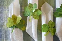 Upcycled napkin rings for St. Patrick's Day