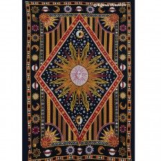 Twin Celestial Sun Moon Stars Hippie Cotton Tapestry Wall Hanging Bedding