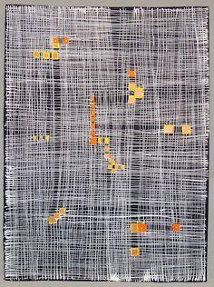 "<em>509 Life Construction  Racel Citrino series</em>, 2014, gouache, white ink on black paper, 22"" x 30"""