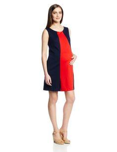 Maternal America Women's Maternity Sleeveless Colorblocked Shift Dress #Fashionlve #Fashion #Maternity #Sleeveless #Dress