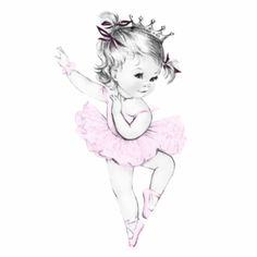 Vintage Pink Ballerina Princess Baby Girl Shower