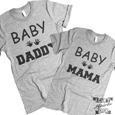 Baby Mama Baby Daddy Tee Shirts. Pregnancy Announcement. Cute Baby Mama Daddy Shirt. Adorable Preggers Mom Dad to be T-Shirt.