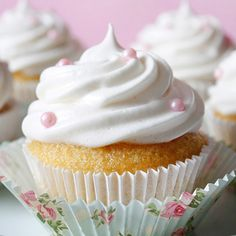 Vanilla cupcakes with fluffy marshmallow frosting.