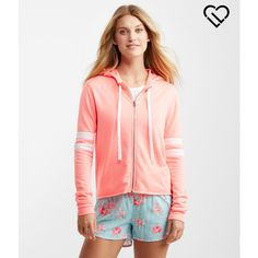 Aeropostale LLD Stripe Accent Full-Zip Hoodie ($22) ❤ liked on Polyvore featuring coral ridge neon and aéropostale