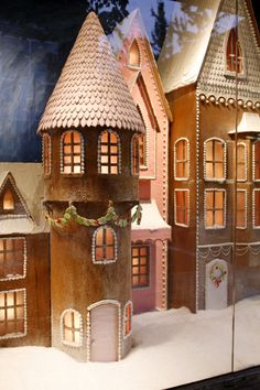 While we certainly festoon our windows every season, we're whipping up something extra delightful just for the holidays. If you're big on gingerbread, royal icing and pearls of sugar s… by francesca-caas Gingerbread Village, Christmas Gingerbread House, Christmas Time, Christmas Crafts, Christmas Decorations, Christmas Windows, Anthropologie Usa, Royal Icing Cookies Recipe, Store Window Displays