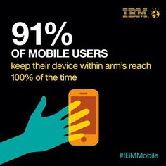 91 % of mobile users keep their device within arm's reach 100 % of the time Interesting Blogs, Social Business, Digital Technology, Mobile Marketing, Ibm, Mobile App, Workplace, Smartphone, Coding