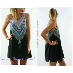 Gorgeous black tribal print dress This is a gorgeous black tribal print dress! Perfect for this spring/summer.! Price is firm unless bundled!?? boutique Dresses Mini