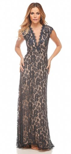 Plunging Passion Evening Gown