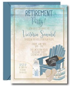 Beach Retirement Invitation