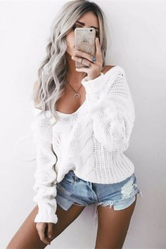 fashion womens sweaters, white v neck sweaters, fashion knitted outfits