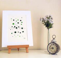 Green Drops 1 - Original Abstract Ink Painting - NOT A PRINT