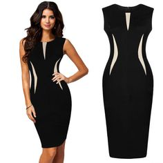 Elegant Women Slim Bodycon OL Business Office Formal Party Evening Pencil Dress #Unbranded #StretchBodycon #WeartoWork